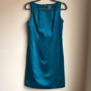 Ann Taylor Factory Teal Satiny Sheath Dress